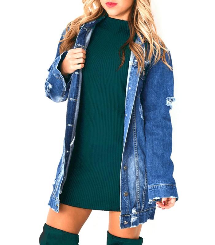 veste en jean longue femme - shandra