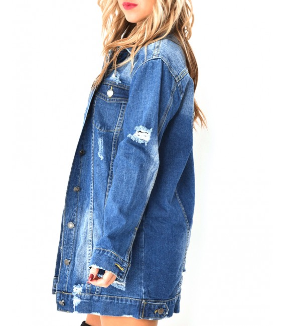 51ccde278568b Purpose Tour Patch Brodé Veste En Jeans Destroy Longue Femme