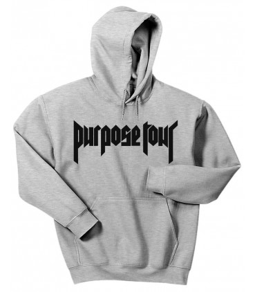 Purpose Tour Hoodie Sweatshirt Grey Justin Bieber Merch