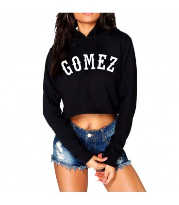 Gomez Crop Top Sweatshirt Black Selena Gomez Merch