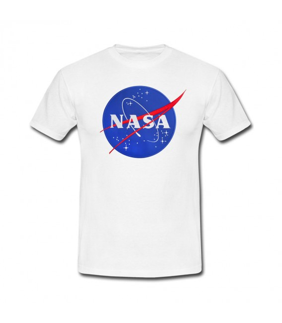 Nasa Space Agency Patch Brodé Tshirt Blanc/Noir