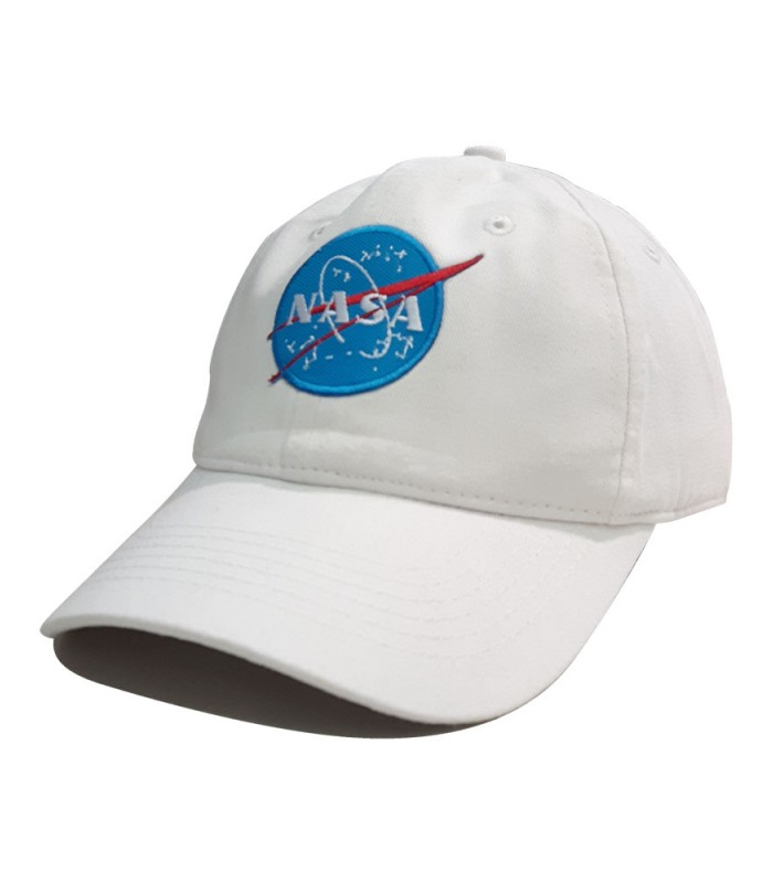 4ba1adc2f0d Nasa Space Agency Patch Embroidered Dad Hat Off White   Black