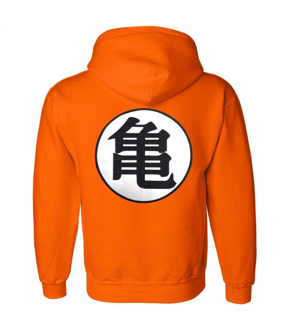 Dragon Ball Z Kame Symbol Patch Brodé Sweat à Capuche Orange