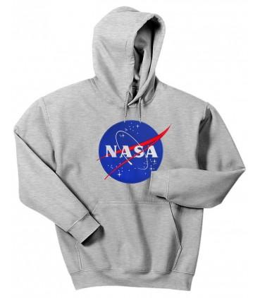 Nasa Space Agency Bestickt Patch Kapuzenpullover Grau