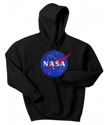 Nasa Space Agency Patch Embroidered Hoodie Black