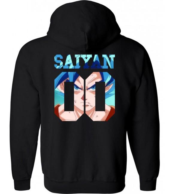 Saiyan Number Back Sangoku SSGSS Sweat à Capuche Noir