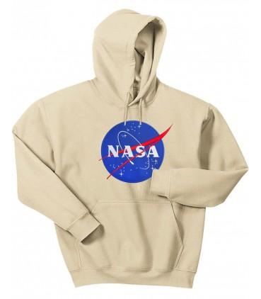 Nasa Space Agency Bestickt Patch Kapuzenpullover Beige