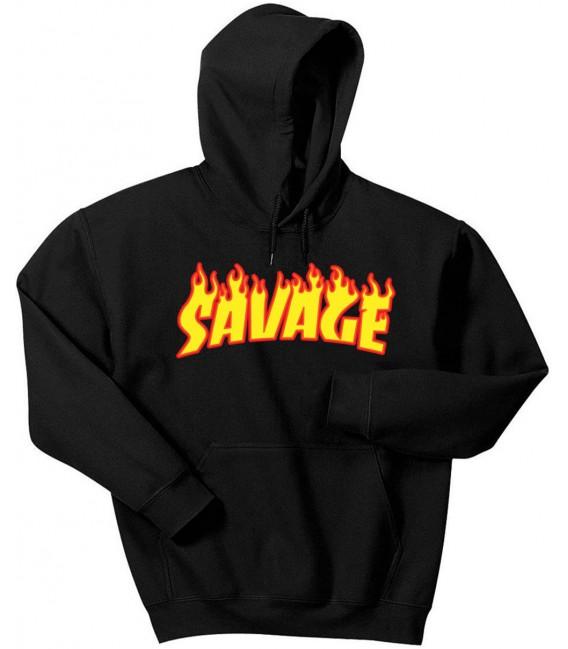 Savage Flame Sweat à Capuche Noir