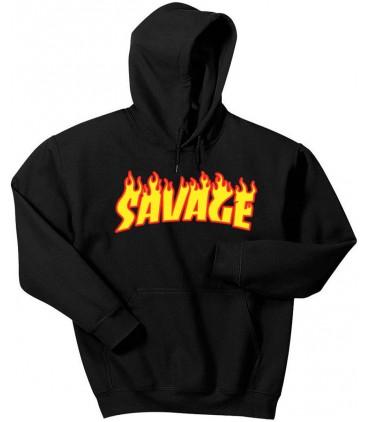 Savage Flame Kapuzenpullover Schwarz
