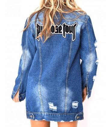 Purpose Tour Patch Brodé Veste En Jeans Destroy Longue Femme