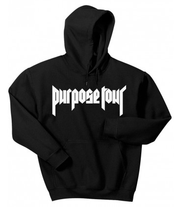 Purpose Tour Hoodie Sweatshirt Black Justin Bieber Merch