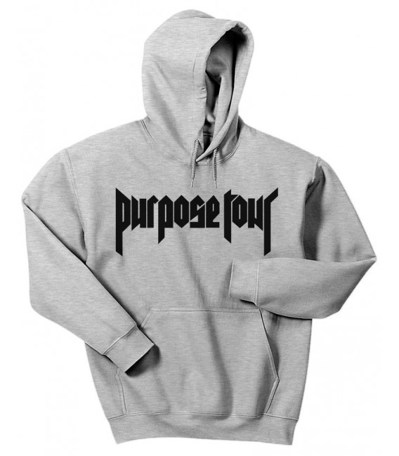 Purpose Tour Hoodie Sweatshirt Grey Justin Bieber Merch
