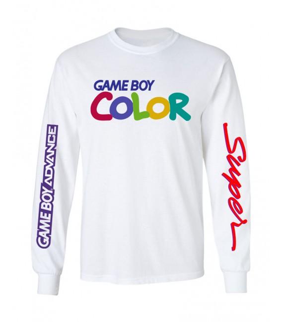 Game Boy T-Shirt Long Sleeves White