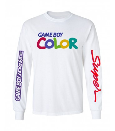 Game Boy T-Shirt Long Sleeves White