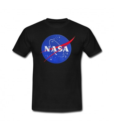 Nasa Space Agency Patch Brodé Tshirt Blanc/Noir