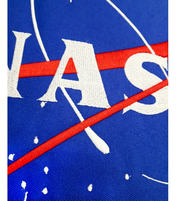 Nasa Space Agency Embroidered Patch T-Shirt White/Black