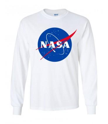 Nasa Space Agency T-Shirt Manches Longues Blanc