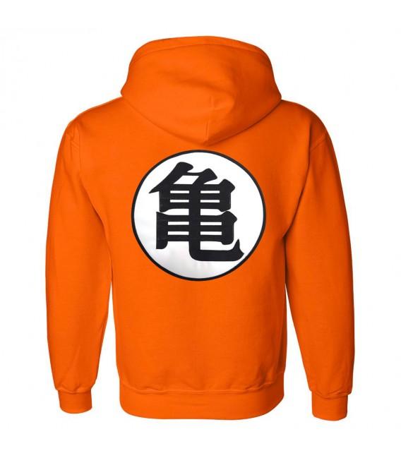 Dragon Ball Z Kame Symbol Patch Brodé Sweat à Capuche Orange