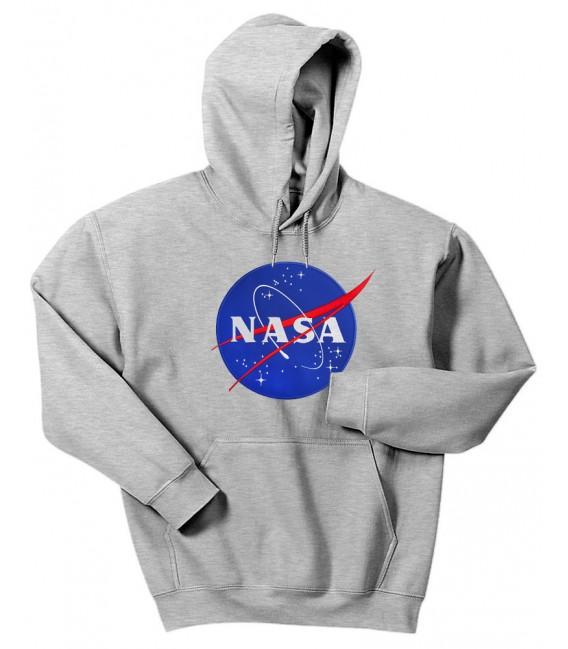 Nasa Space Agency Patch Brodé Sweat à Capuche Gris