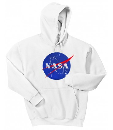 Nasa Space Agency Patch Brodé Sweat à Capuche Blanc