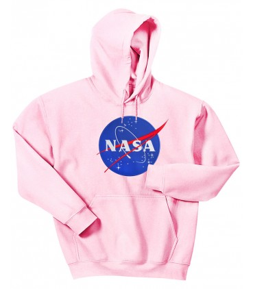 Nasa Space Agency Patch Embroidered Hoodie Pink