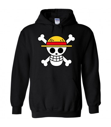 One Piece Sweat à Capuche Noir Luffy