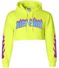 Just Chill Crop Top Hoodie Yellow Neon