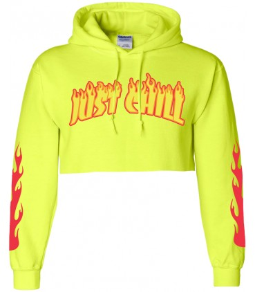 Just Chill Sweat à Capuche Crop Top Jaune Fluo