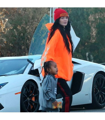 Kylie Flames Hoodie Sweatshirt Orange Kylie Jenner Merch