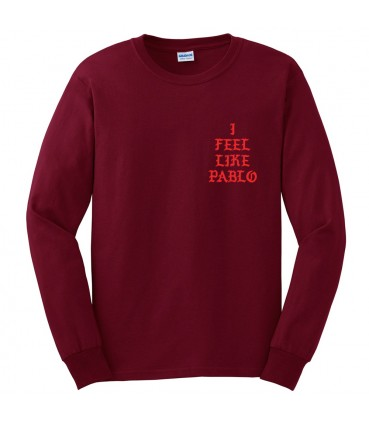 I Feel Like Pablo T-Shirt Long Sleeves Red Pablo Merch